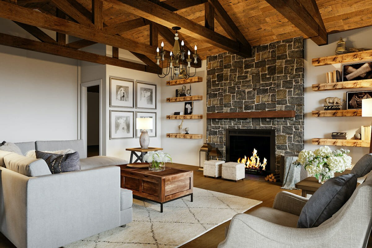 Lodge style living room with fireplace