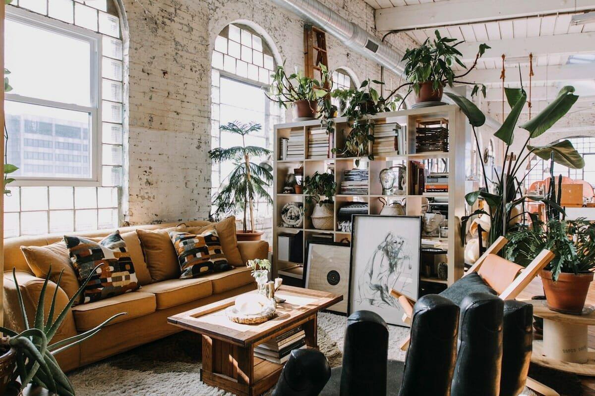 Lush bohemian style decor in a converted loft