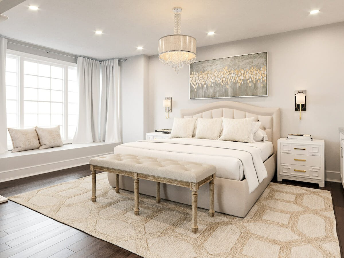 Master bedroom with transitional interior design
