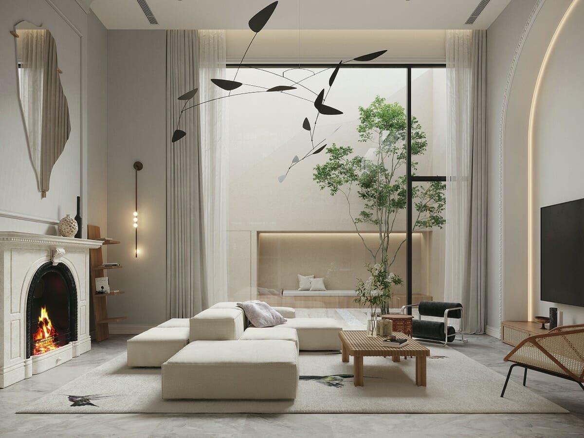Modern ceiling fixture in modern house lighting design