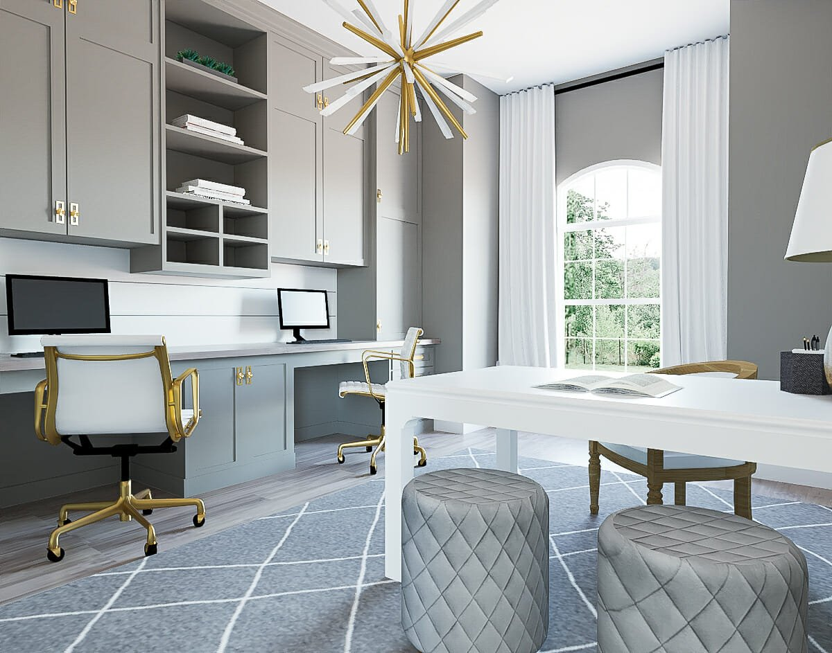 Monochrome vertical storage in a home office by Decorilla designer Mary Beth