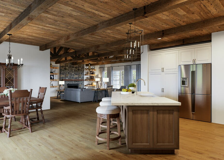 Open plan living and dining room in rustic interior design