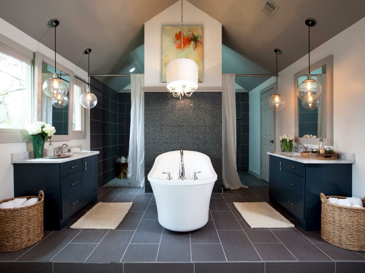 Over the tub lighting interior design in bathroom