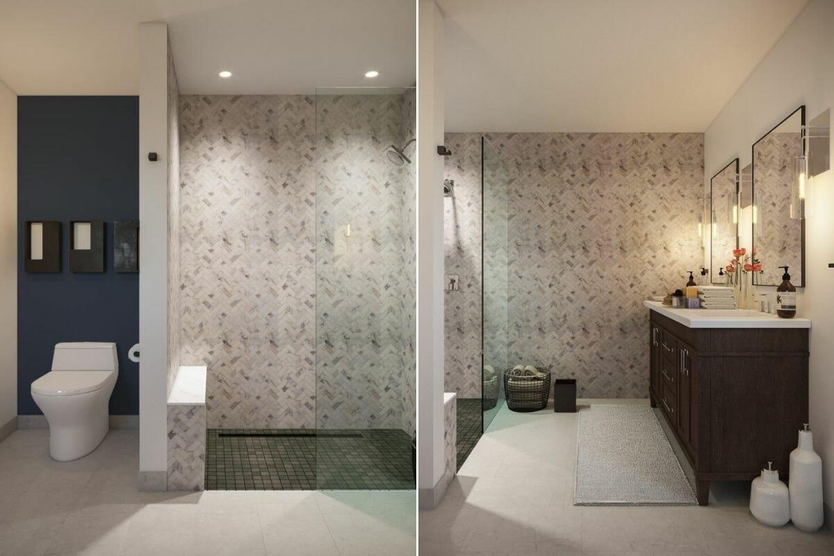 Rustic contemporary house bathroom design