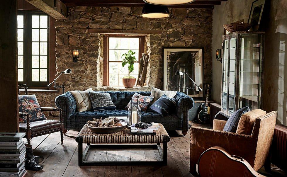 Rustic home interior living room - Ralph Lauren