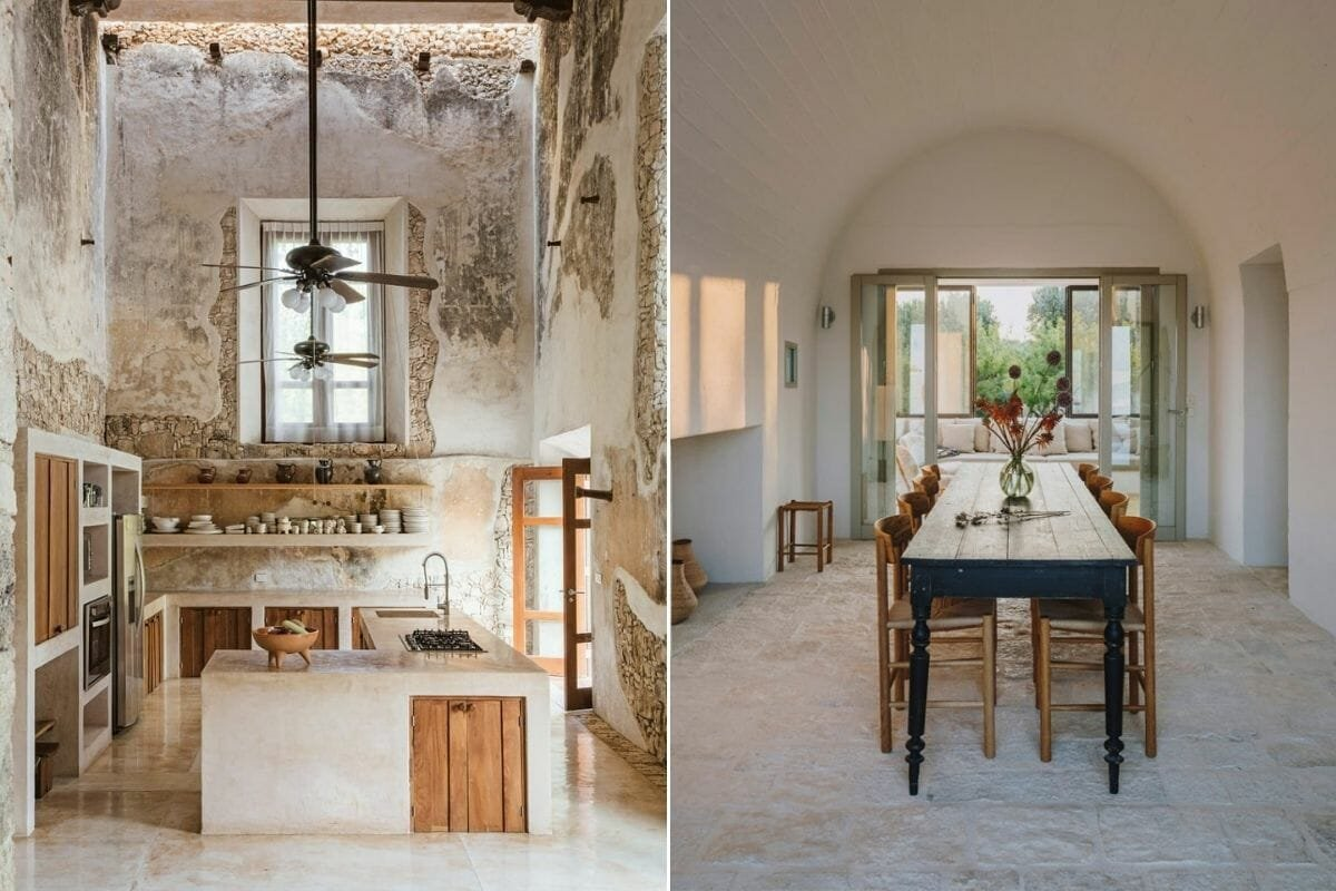 Rustic house interior of a kitchen and dining room