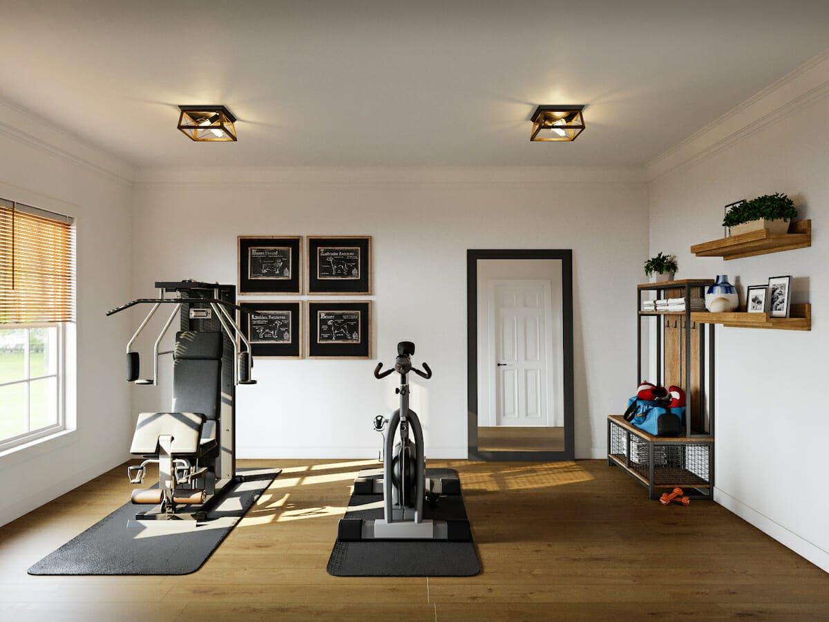Rustic interior design for home gym