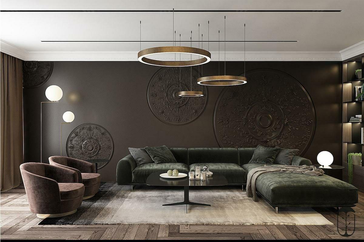Sleek modern interior lighting in living room design