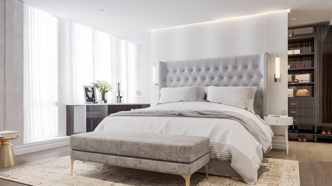 Softly illuminated bedroom lighting interior design