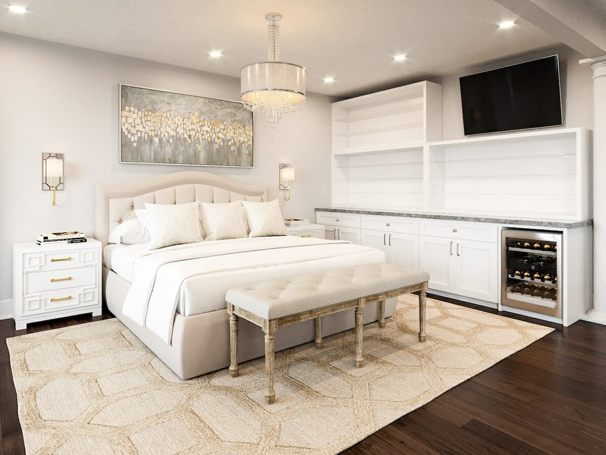 Transitional bedroom design with storage and wine cooler