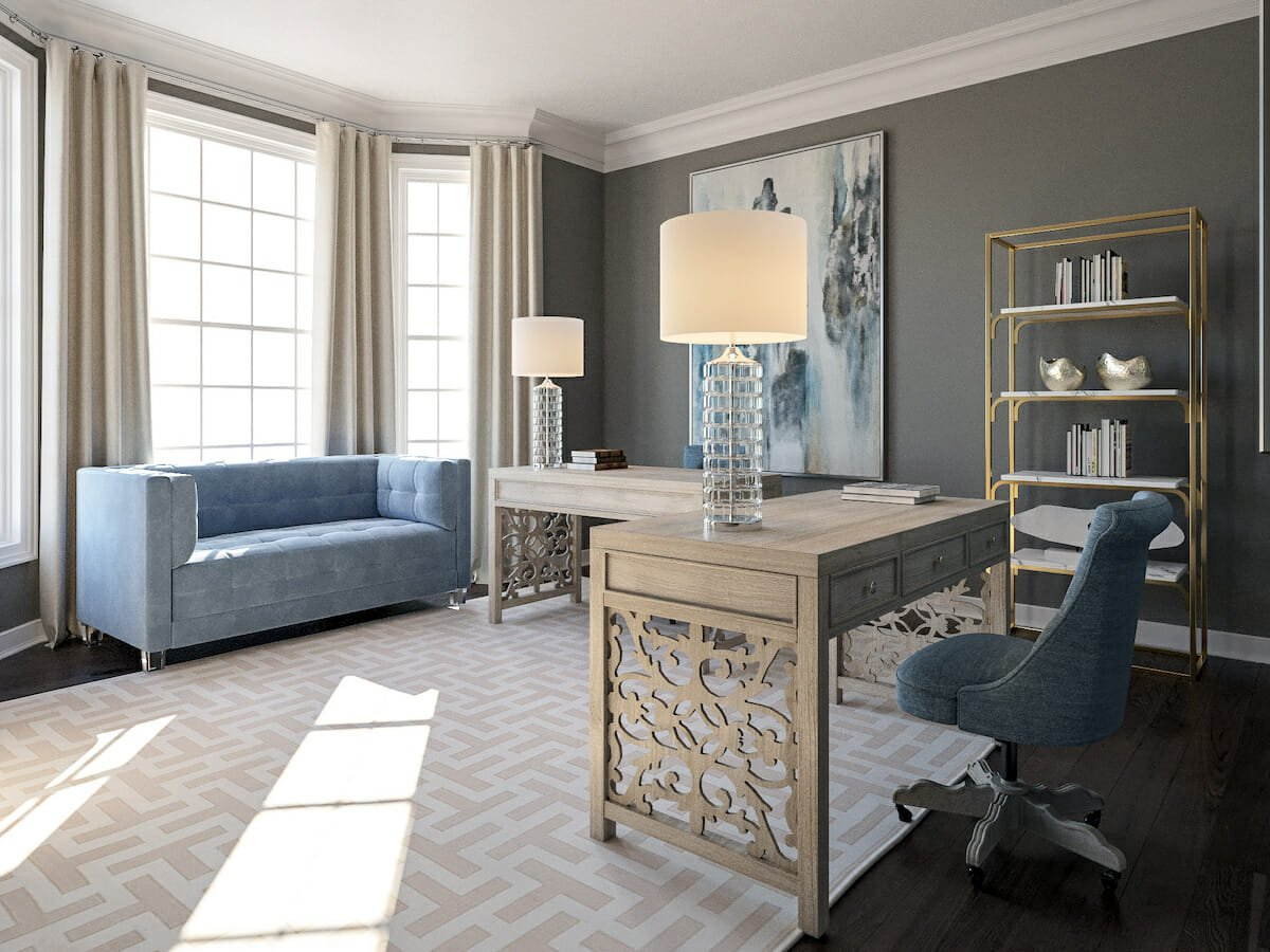 Transitional decor for a sophisticated home office