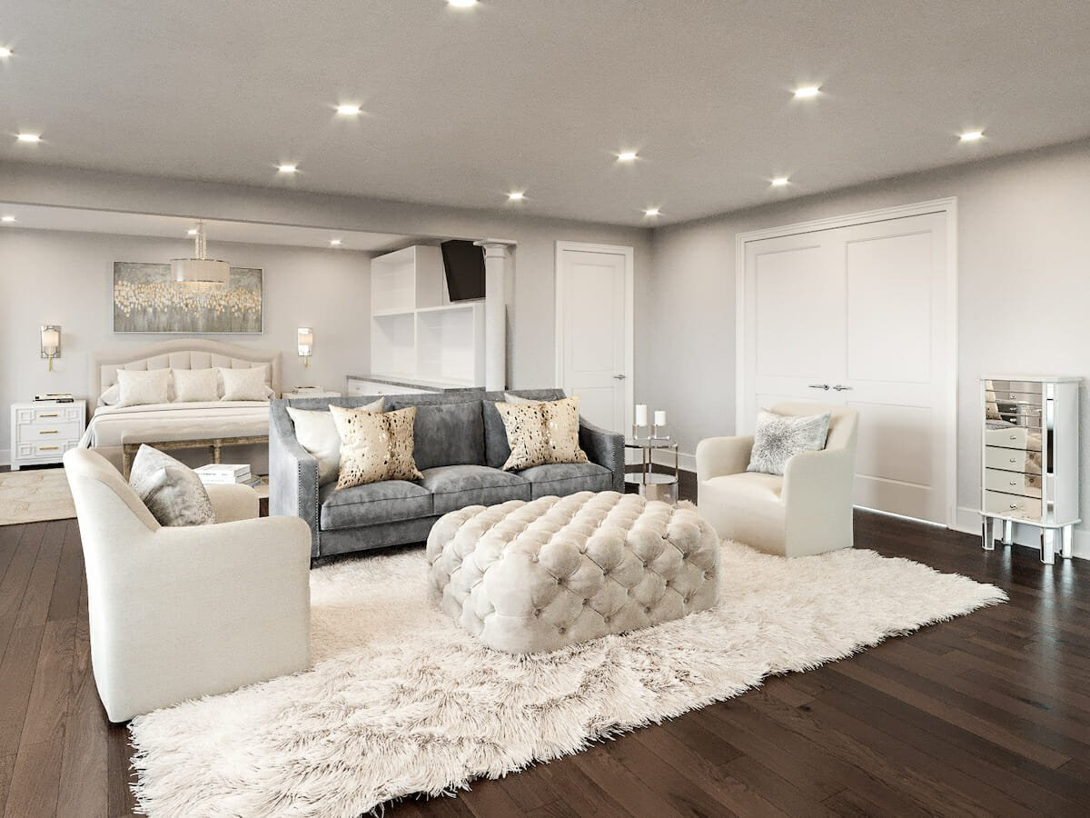 Transitional glam decor for a master bedroom suite