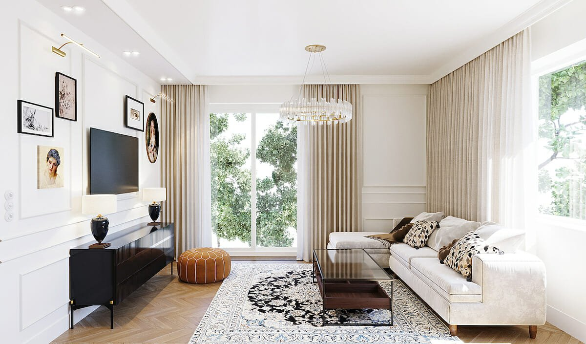 Transitional living room with all types of lighting in interior design