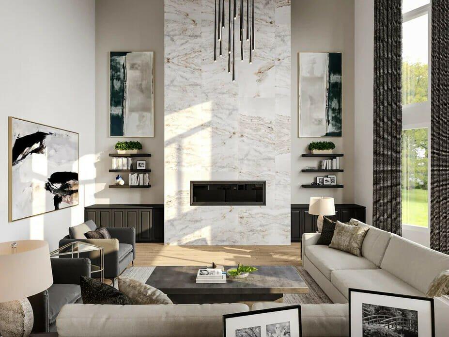 Vaulted ceiling living room by Decorilla designer Berkeley H