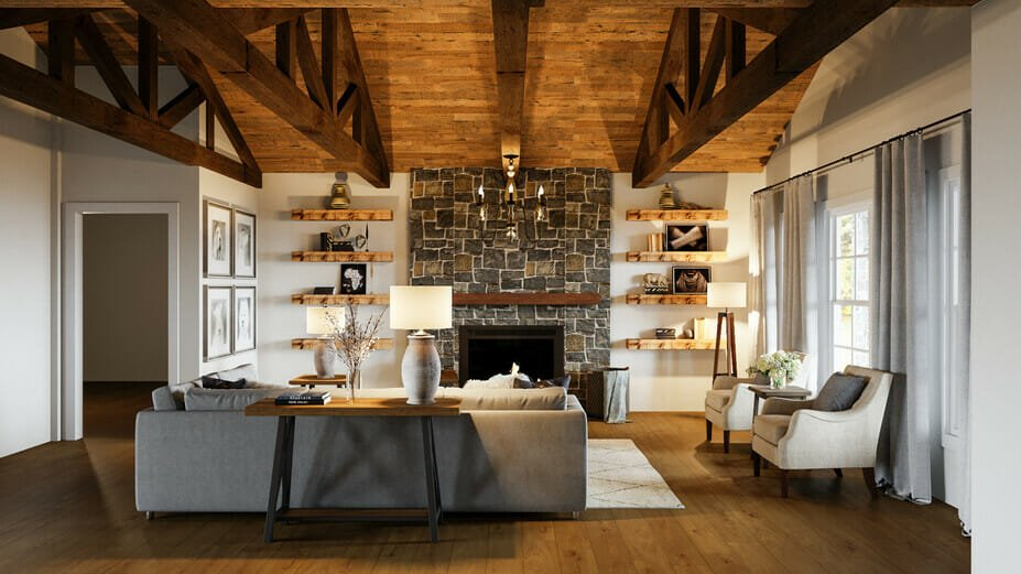 Warm and welcoming rustic interior decor in living area