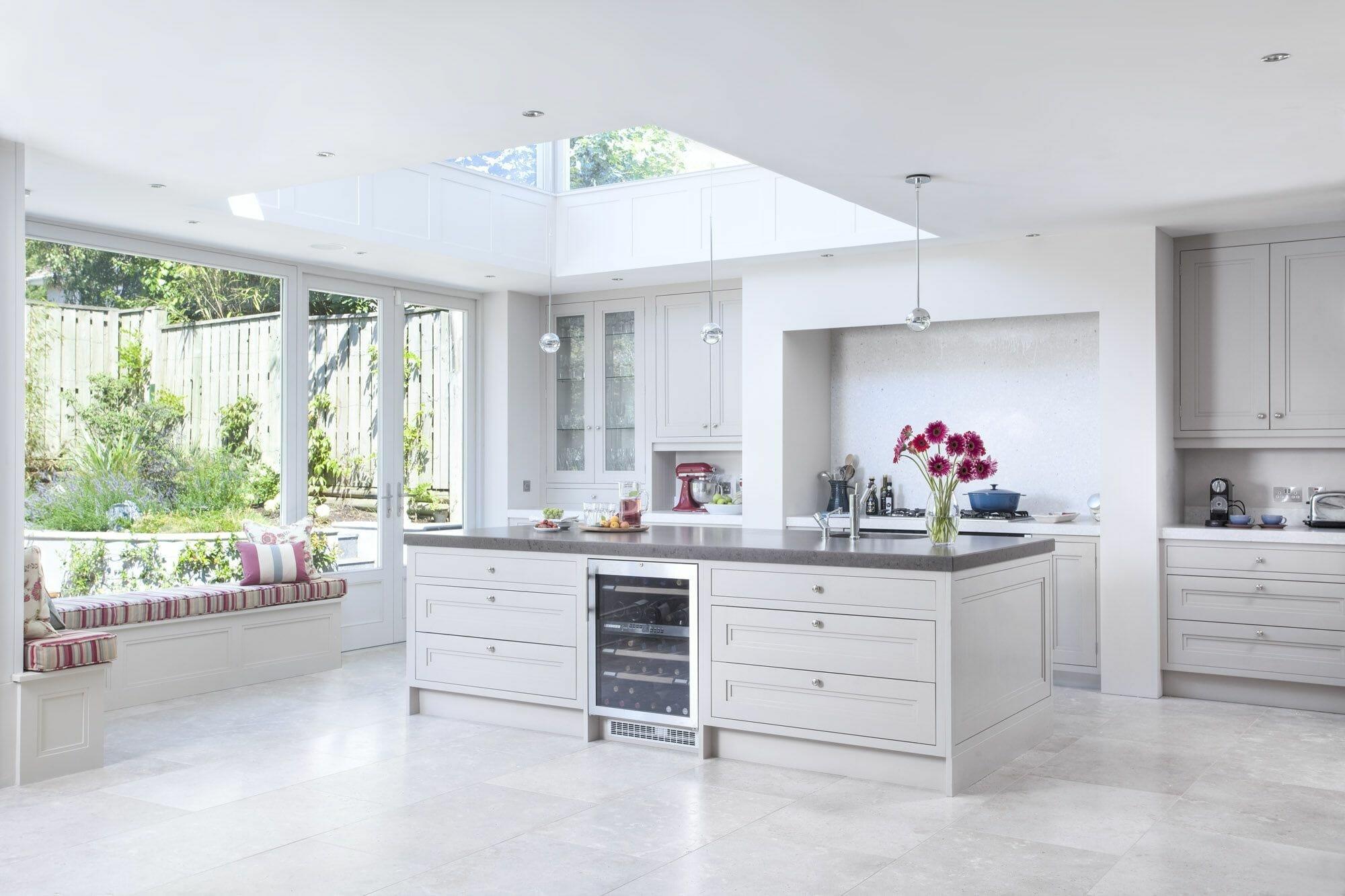 Warm natural sunlight in modern lighting design of kitchen