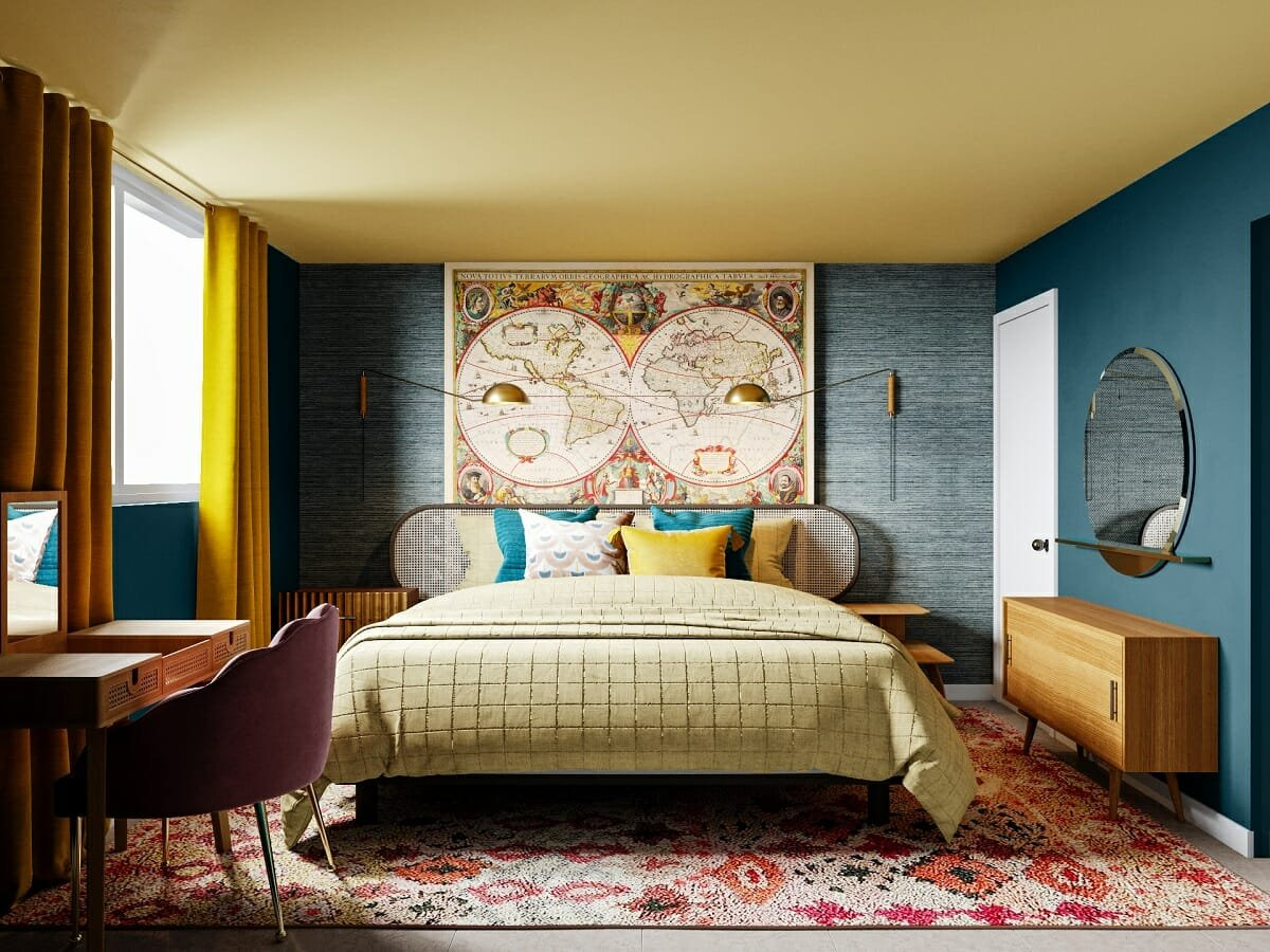 colorful bedroom by online interior designer
