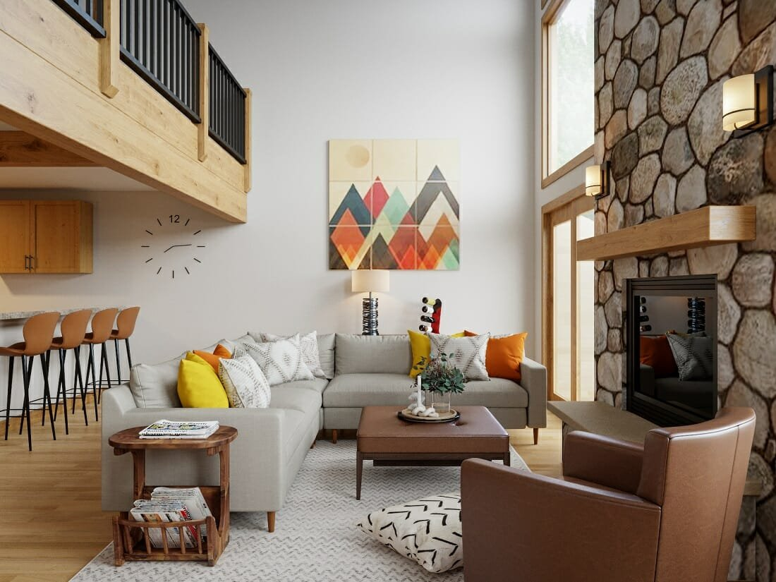 contemporary rustic lounge by an online interior designer