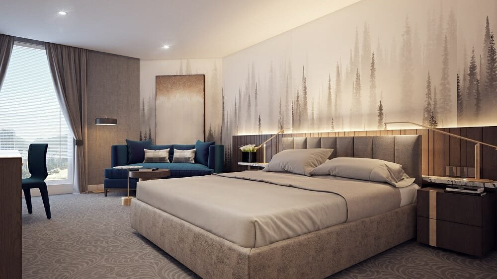 eclectic hotel room by a hotel decorator - Mladen