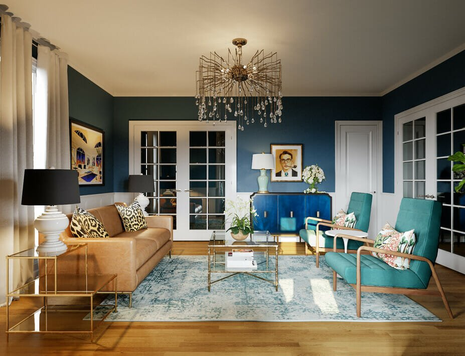eclectic living room with a tan, teal and blue color scheme