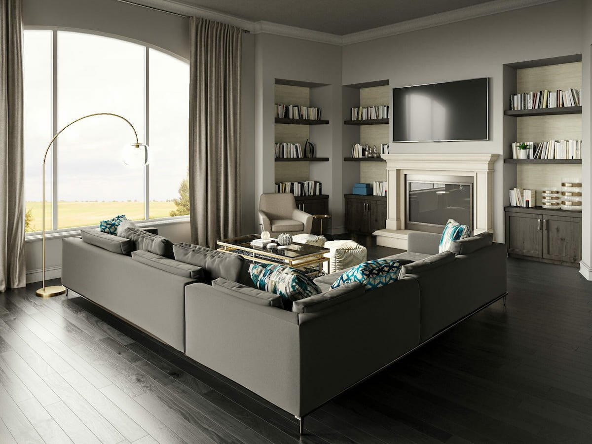 glam decor style for family room