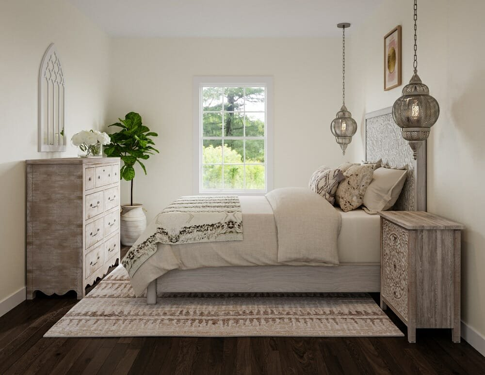 morrocan bedroom by an online interior decorator