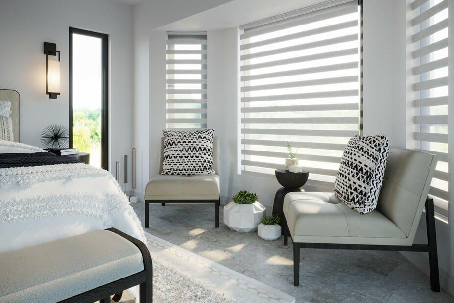 rustic contemporary bedroom by an online interior designer