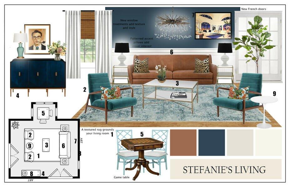 vintage eclectic living room mood board
