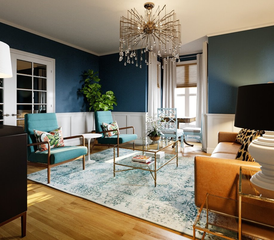 vintage eclectic living room with dark blue walls