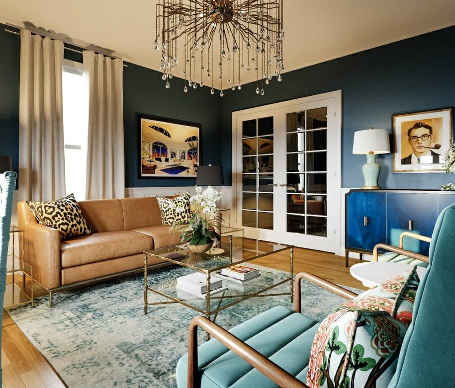 vintage living room with eclectic living room decor