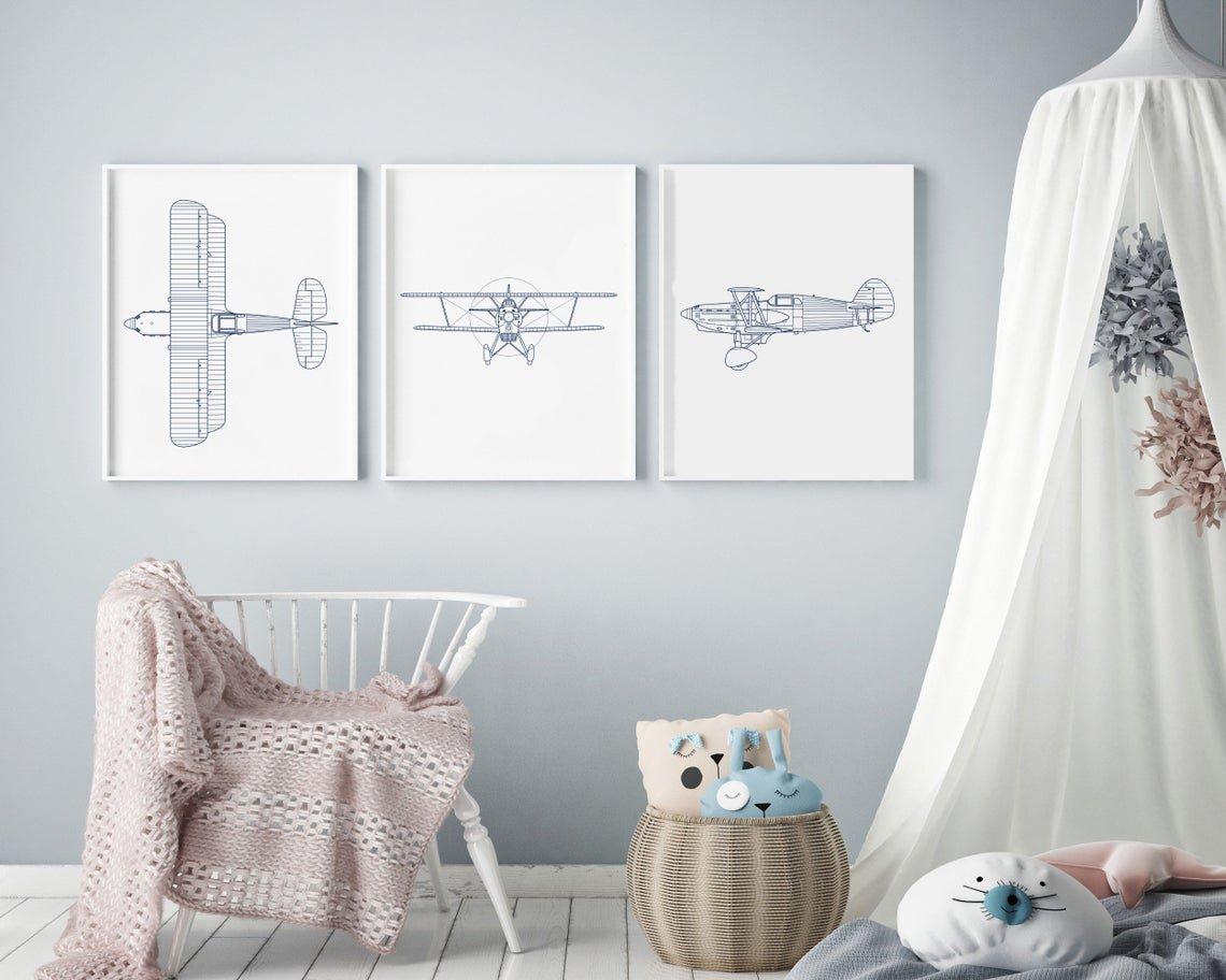 Airplane theme nursery design
