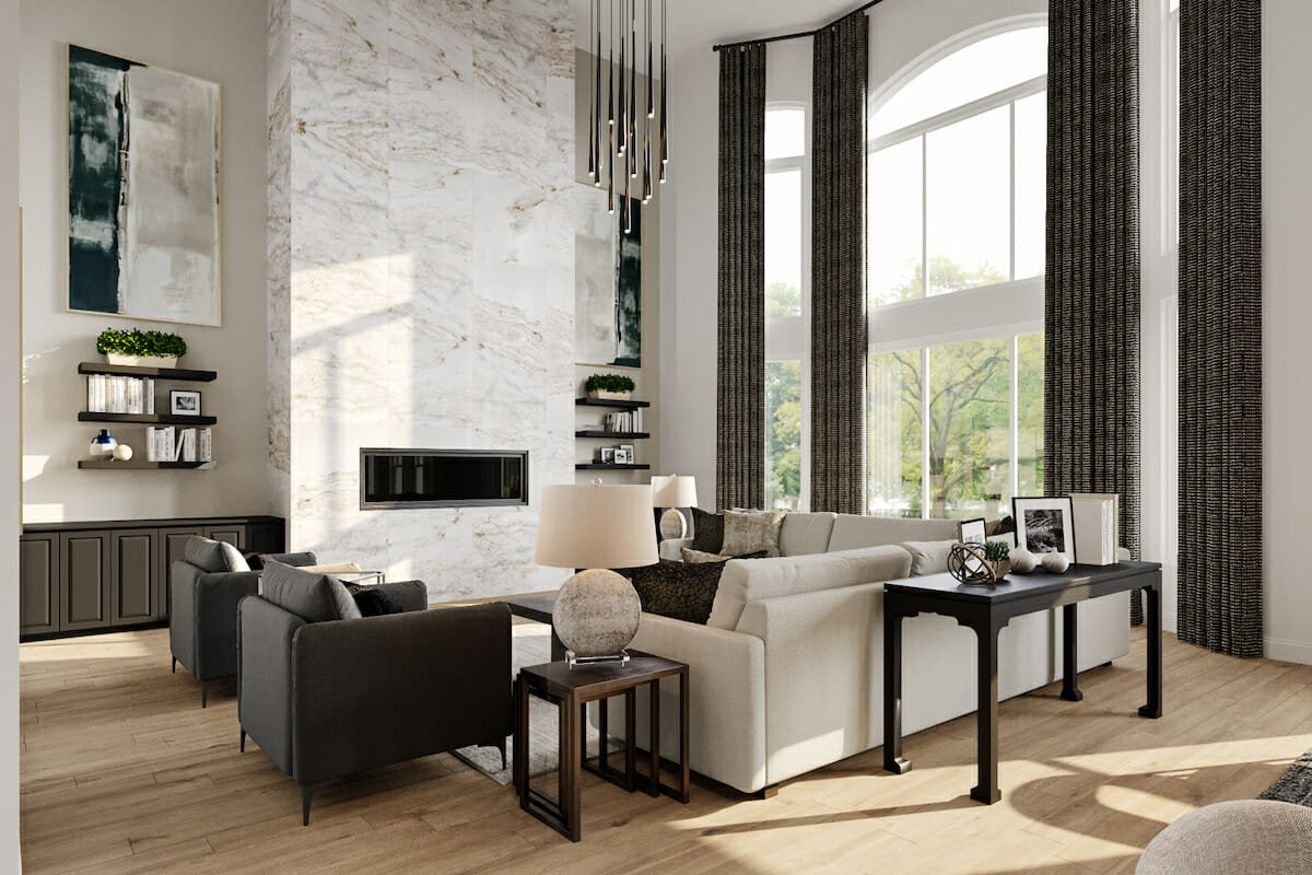 Contemporary home decor for cathedral ceiling living room - Decorilla 3D rendering