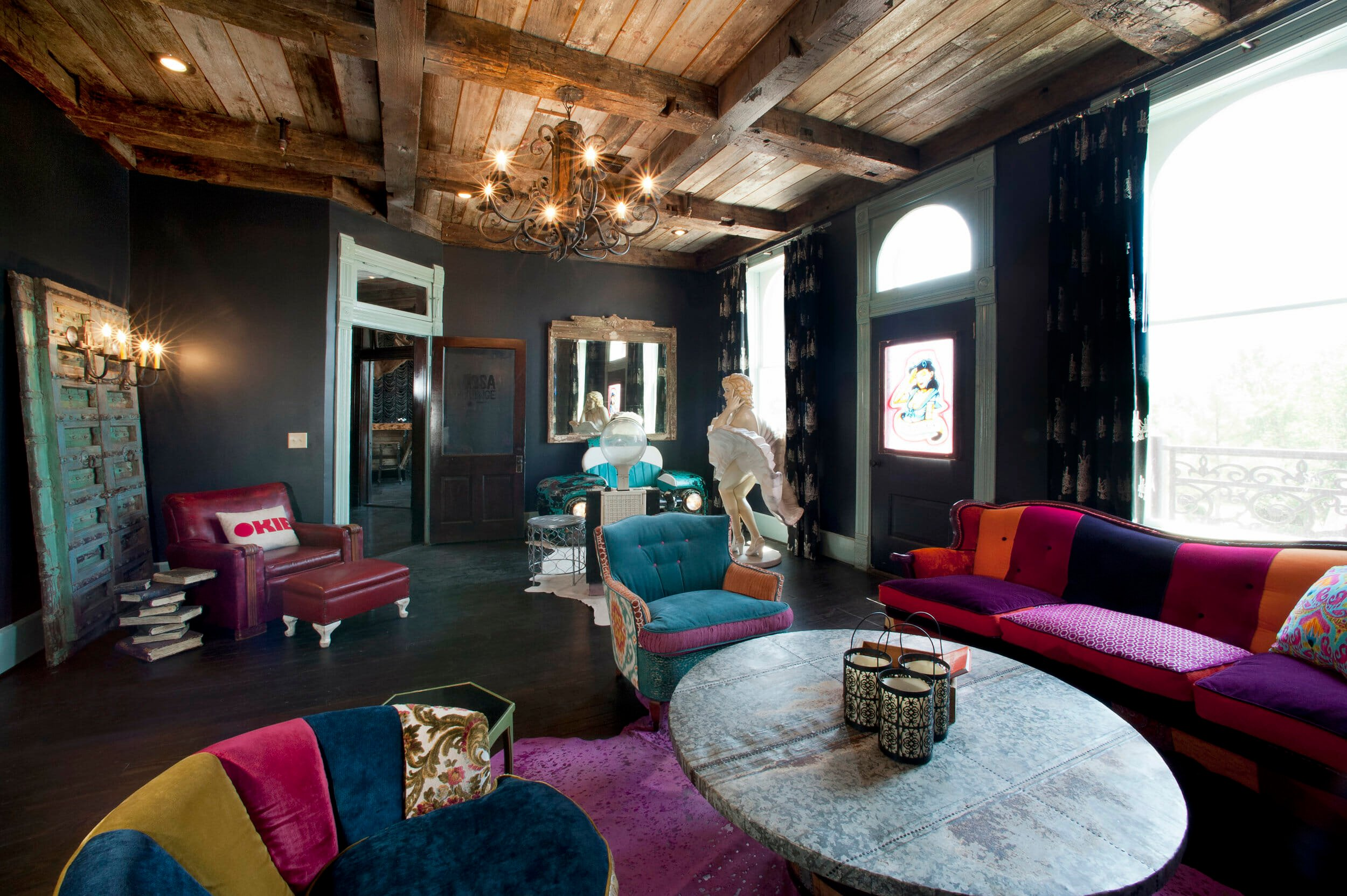 Funky living room decor by one of the top oklahoma city interior designers, Neely and Queen