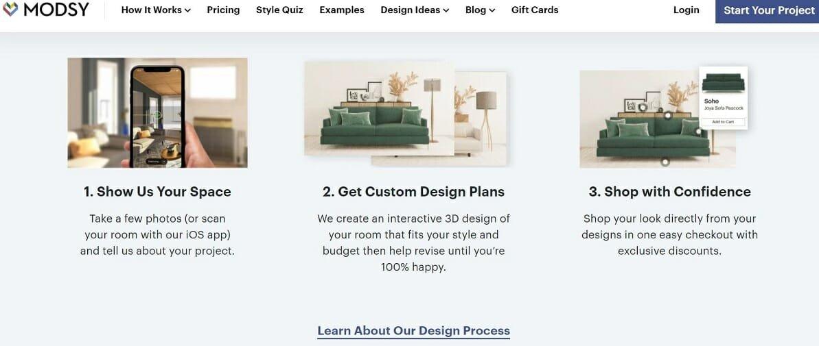 Home interior design websites - Modsy