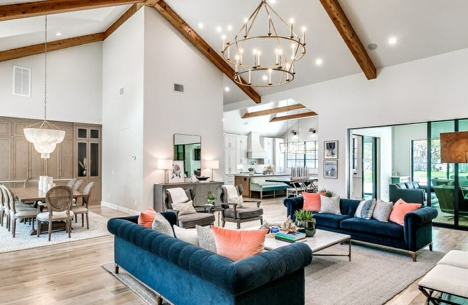 Modern rustic open living space by interior decorator OKC a-line designs
