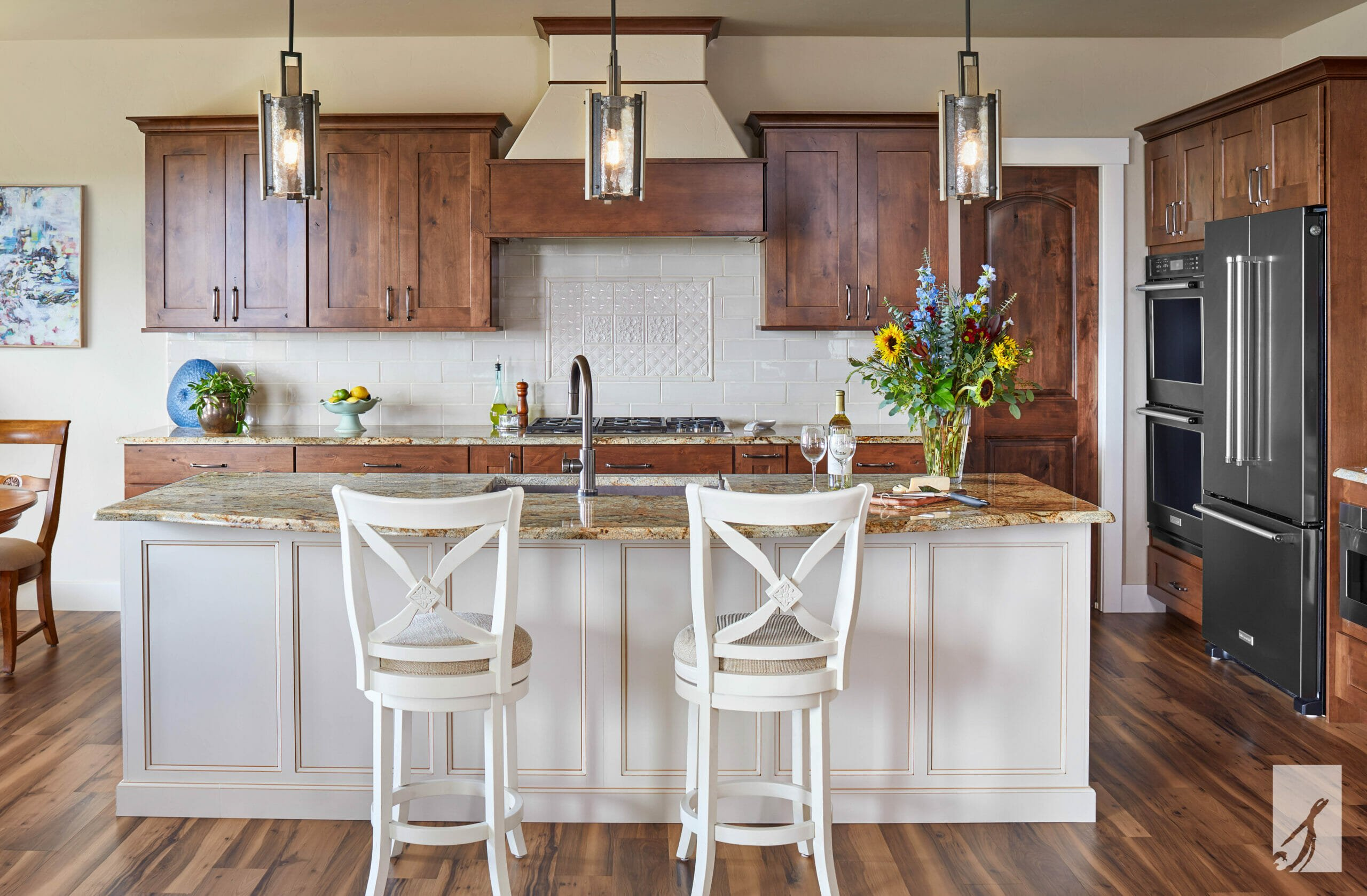 Wooden accent in kitchen interior design Colorado Springs by Katherine and Courtney Springs