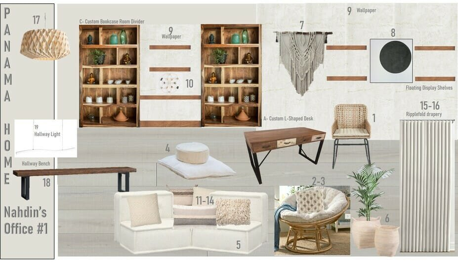 bohemian office decor for a his and hers home office - mood board