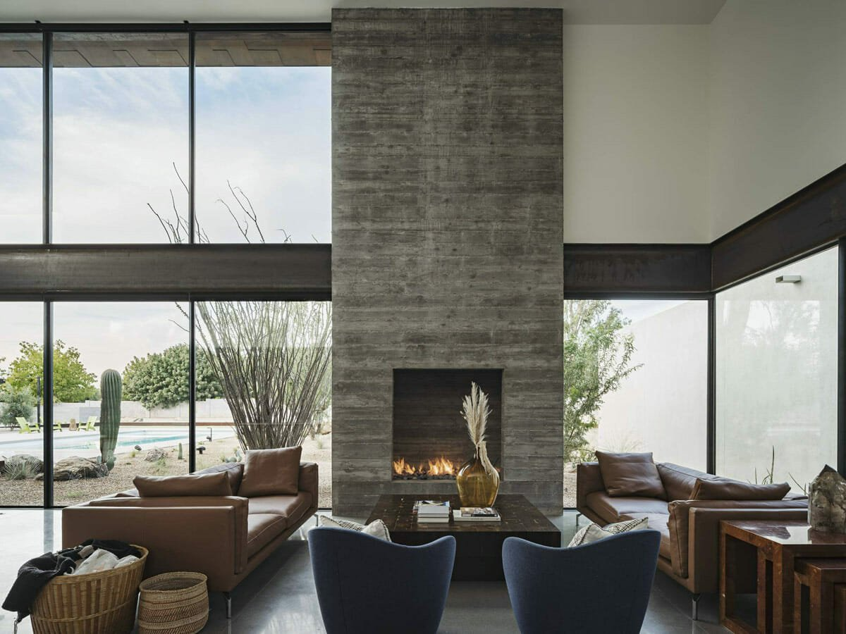 contemporary home interior with cathedral ceiling
