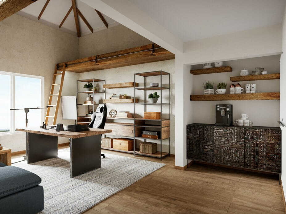 industrial home office with a his and hers desk