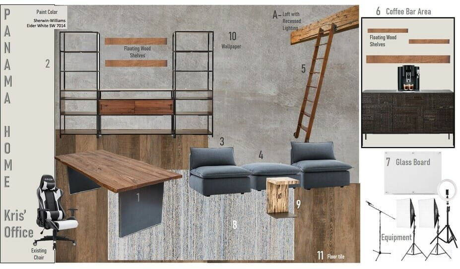 masculine mood board filled with his and hers home office ideas
