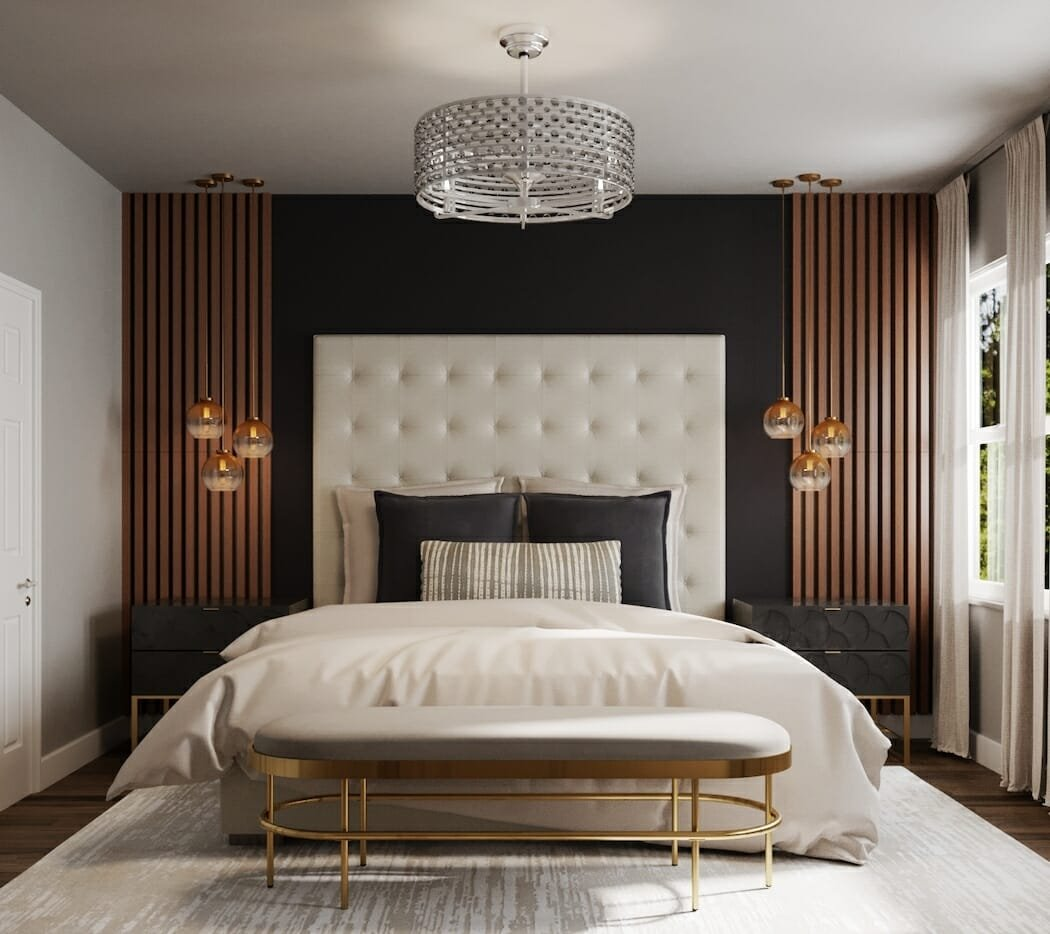 2022 home interior design trends - bold accent wall bedroom