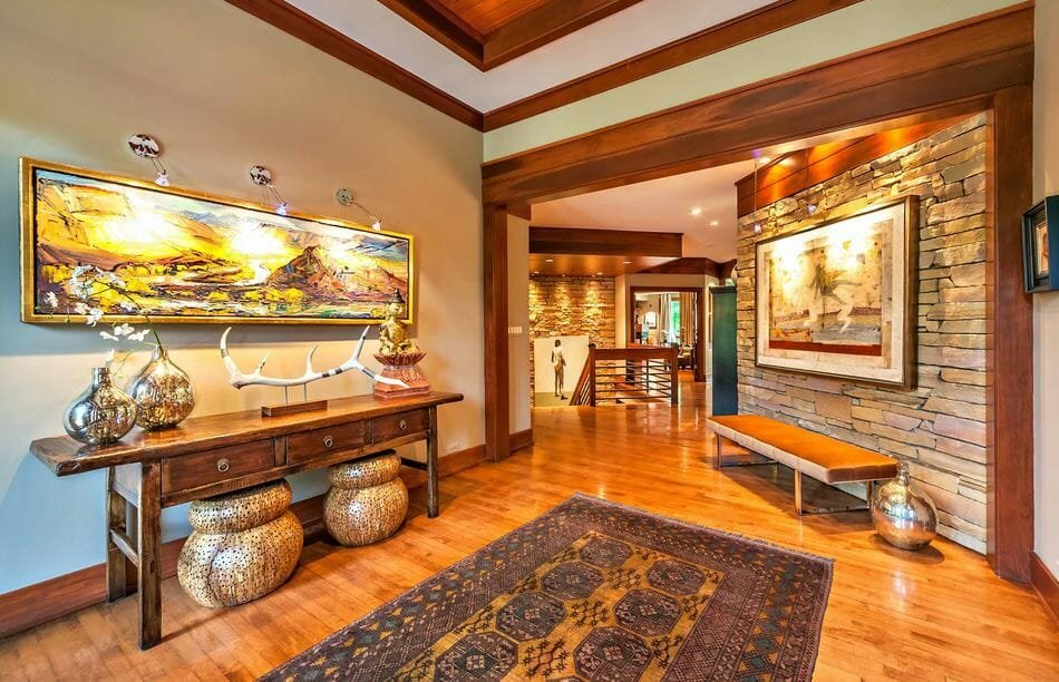 Beautiful foyer decor by one of the top interior design firms Indianapolis, Weitkamp Interior Design