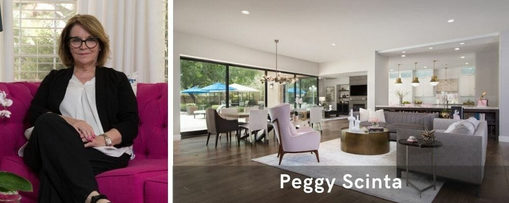 Beautiful open plan living room by one of the top Las Vegas interior designers, Peggy Scinta