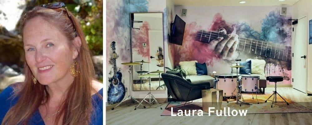 Cheerful music studio decor by one of the top Las Vegas interior designers, Laura Fullow