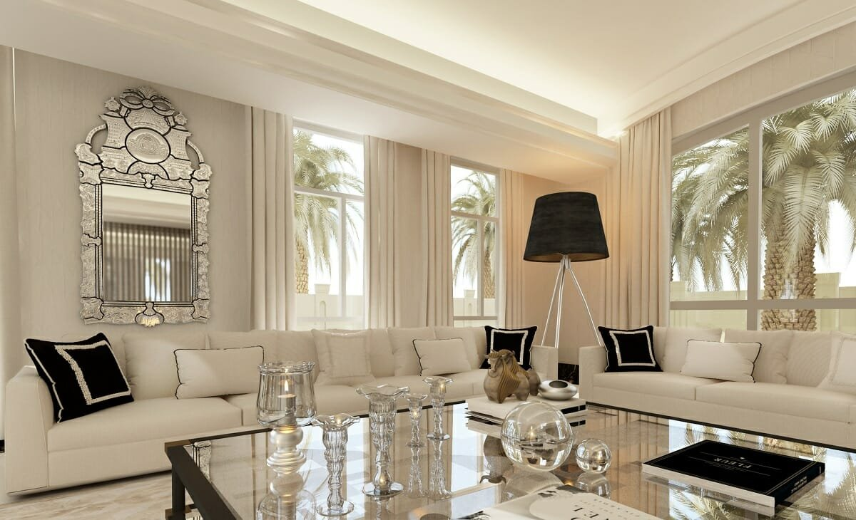 Classic lounge by online interior decorator Nathalie Issa