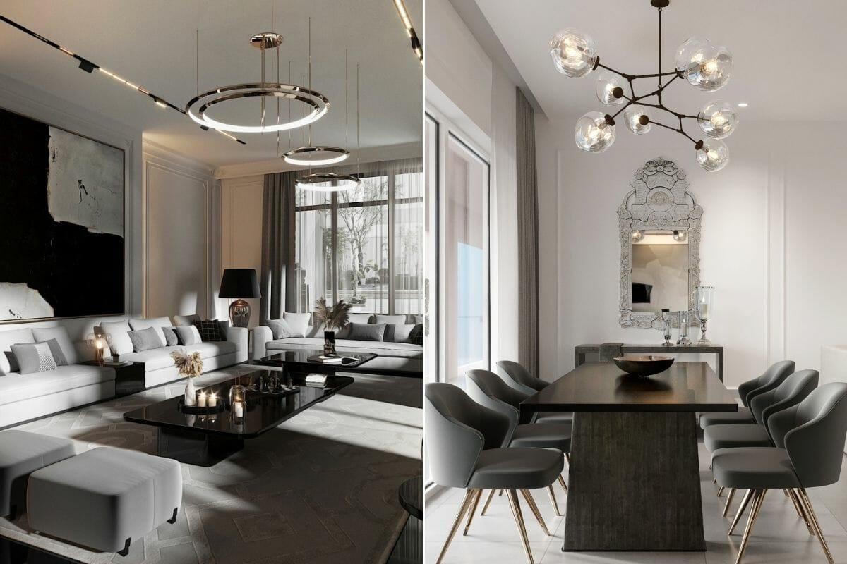 Contemporary glam lounge and dining room by online interior decorator nathalie issa