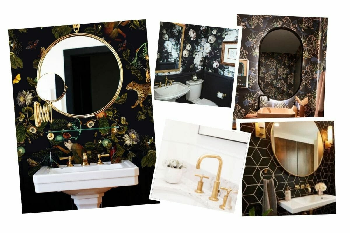 Dark floral wallpaper bathroom inspiration board