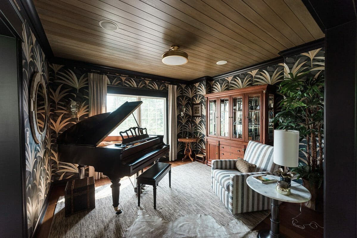 Eclectic entertainment room decor by one of the top Indianapolis interior designers, Wendy Langston
