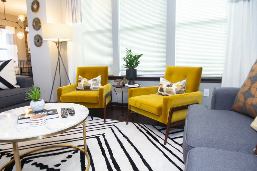 Eclectic living room by one of the top Indianapolis interior designers, Hope Pace