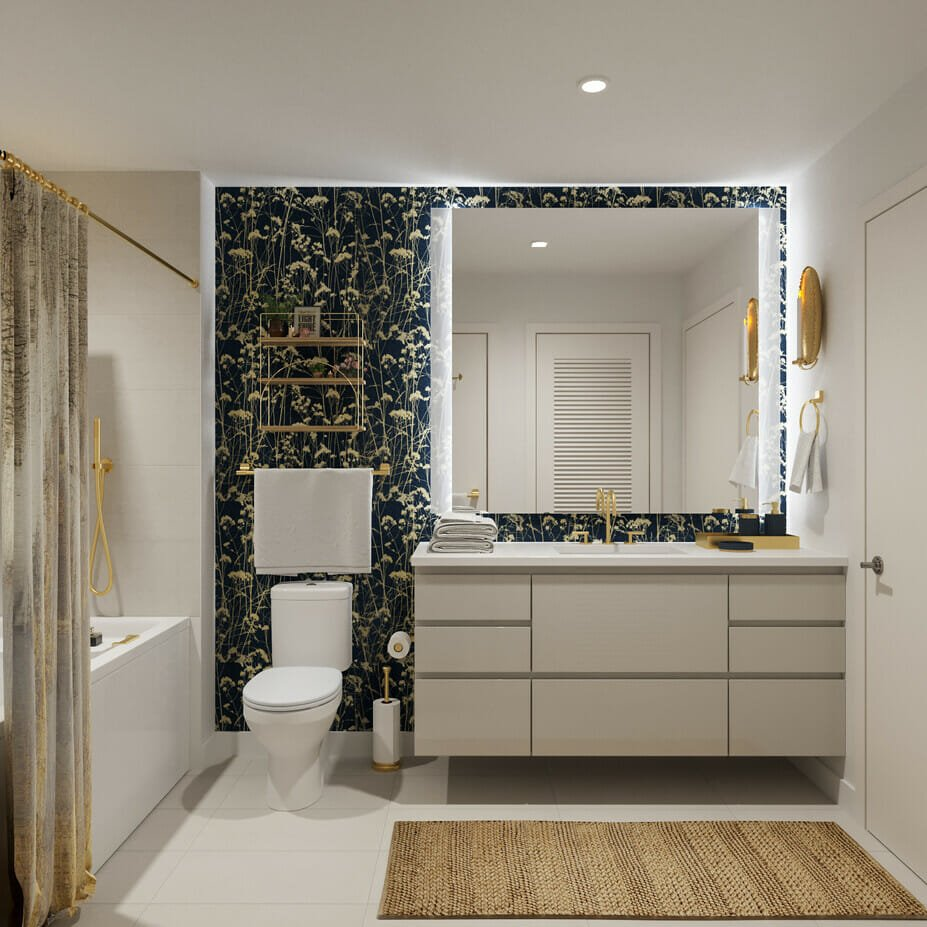 Glam floral wallpaper bathroom decor by Decorilla interior designers